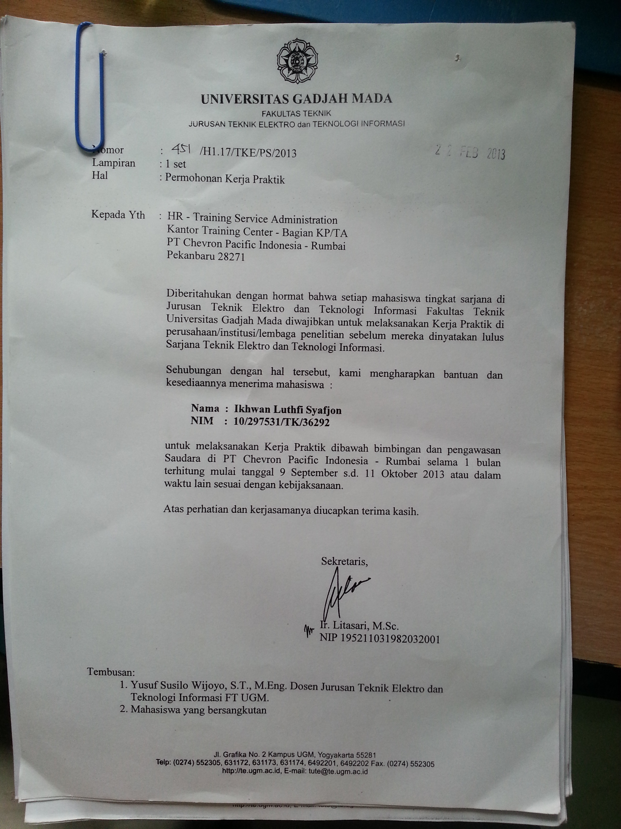 Kerja Praktik Di Pt Chevron Pacific Indonesia Yg Warna Biru Bisa